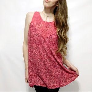 Lucky Brand NEW Pink Paisley Crochet Gauze Tank
